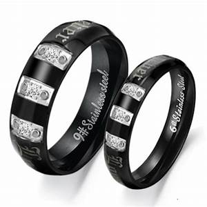 2 pcs black couples ring lovers ring wedding rings With man made wedding rings