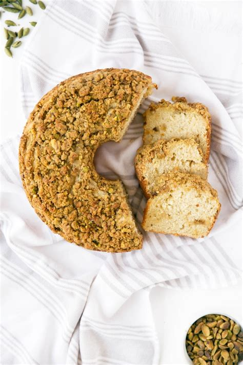 This dish is coffee cake with a twist; Cardamom Pistachio Coffee Cake - Broma Bakery
