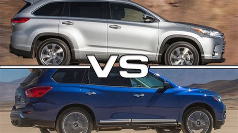 nissan highlander 2017 toyota highlander vs 2017 nissan pathfinder youtube