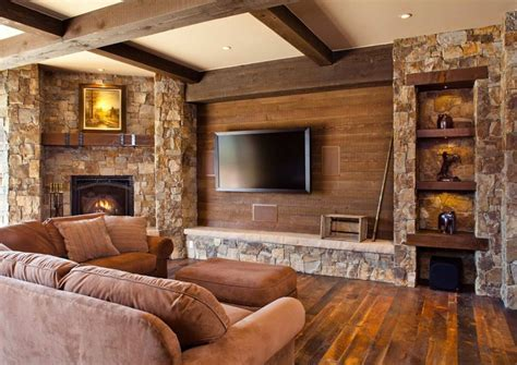 Rustic Living Room With TV On The Wall