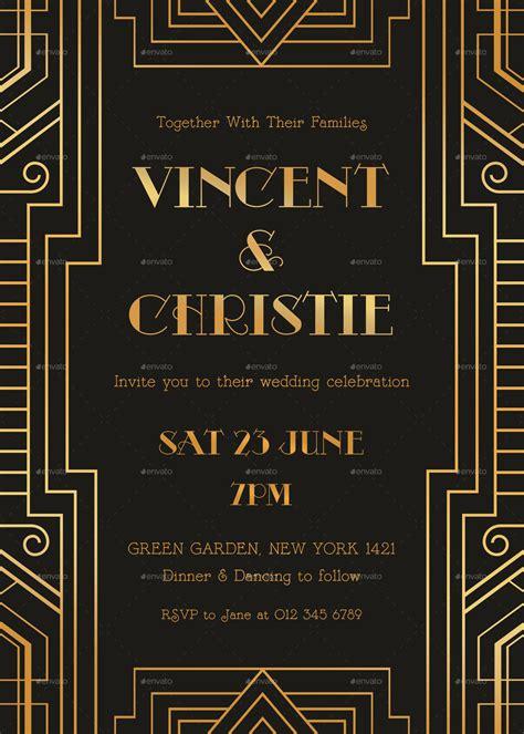 art deco wedding invitation  infinite graphicriver