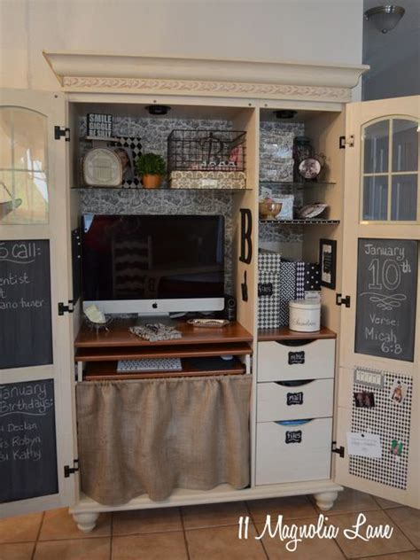 Used Computer Armoire by My Decorated And Organized Computer Armoire Workstation