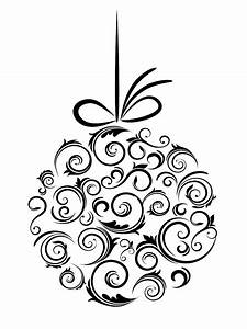 Xmas Decorations Clipart Black And White - ClipartXtras