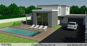 maison toit terrasse fleurey etec With plan de maison moderne 4 maison contemporaine rouvre etec