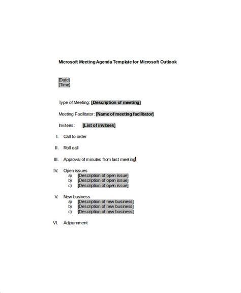 microsoft meeting agenda templates  sample