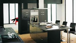 cuisine noire avec ilot central alinea With ilot central cuisine alinea