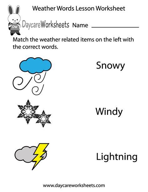 preschool weather words lesson worksheet