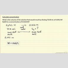 Calculate Concentration (example) Youtube