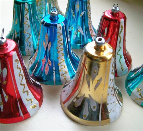 8 vintage aluminum christmas tree ornaments from italy