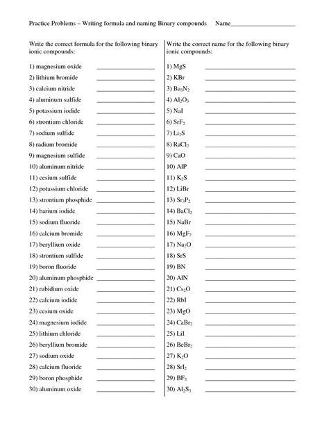 Naming Binary Compounds Worksheet Instructional Fair  Kidz Activities