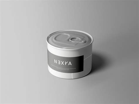 Sample design is not included in the download file. Small Tin Can Free Mockup (PSD) - PSDKits