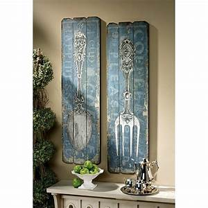 Amazoncom vintage fork and spoon wall art set of 2 for Kitchen colors with white cabinets with large spoon and fork wall art