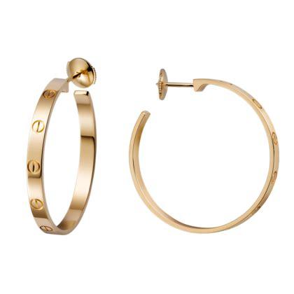 love earrings yellow gold hoops cartier hoops