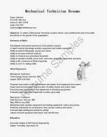 Mechanical Technician Resume Doc resume sles mechanical technician resume sle