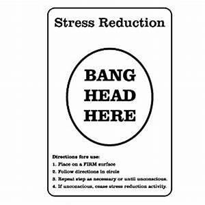 Stress Reduction - Bang head here JOKE Sign: Amazon co uk