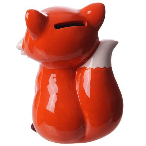 Fun Sitting Fox Ceramic Money Box