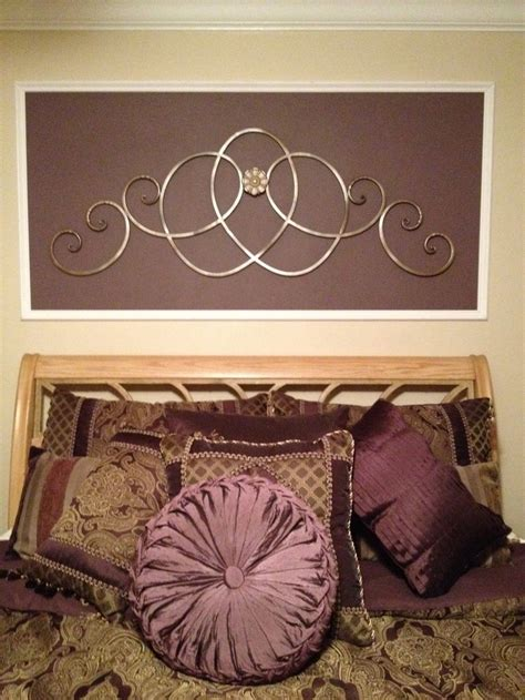 On both sides are vintage black metallic sconces. My bedroom~purple! *picture molding *metal scroll wall decor | Picture molding, Diy déco, Metal ...