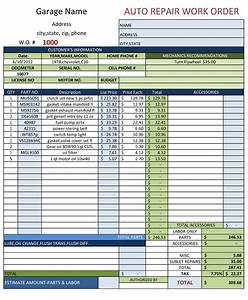 Auto repair work order template for Automotive repair work order template