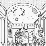 Moon Drawing Sun Coloring Pages Printable Stars Galileo Solar System Telescope Astronomy Activities Galilei Astronomer Crafts Earth Draw Craft Print sketch template
