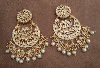 buy white kundan chandbali earrings