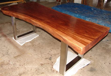edge dining table reclaimed solid slab acacia wood