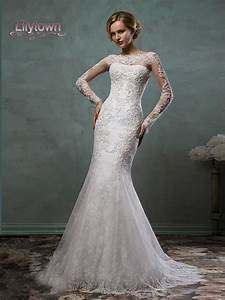 2016 wedding dresses sheer lace sleeves bateau neckline With fit and flare wedding dress with sleeves