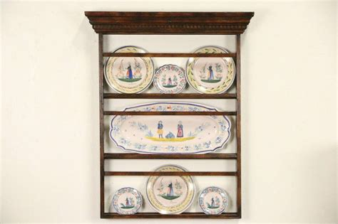 sold vintage fruitwood wall mount  hanging plate rack harp gallery antique furniture