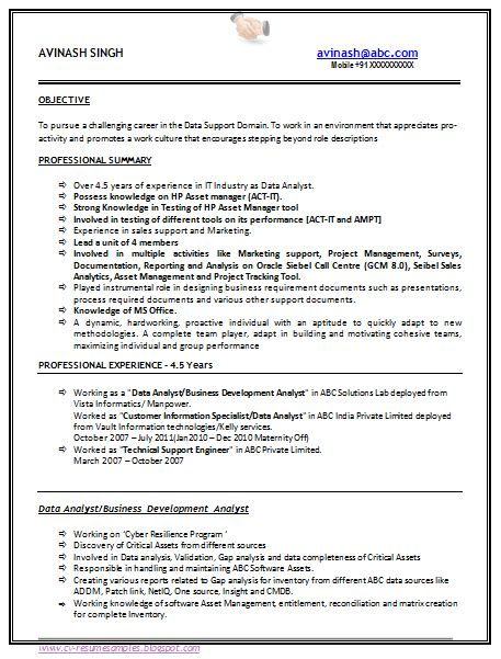 years experience sample resume format resume
