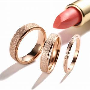 2 4 6mm rose gold frosted titanium steel wedding band ring With frosted wedding ring