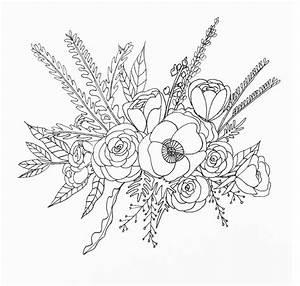 Line Drawing Flower Illustration | Floral - Bouquet | art ...