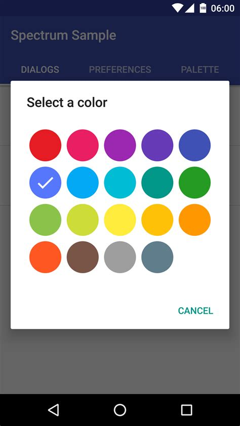 spectrum color picker the android arsenal color pickers spectrum