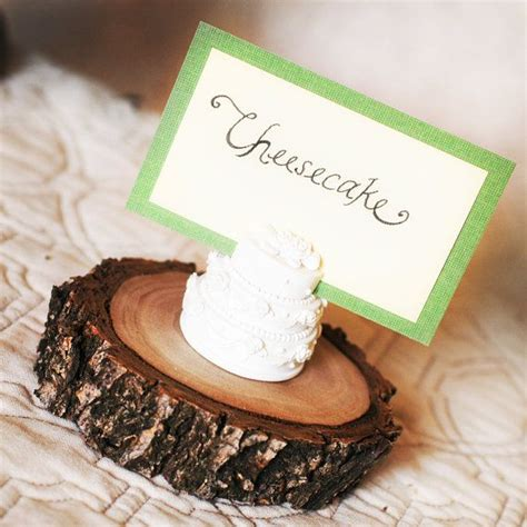 mini cake stand wooden branch place card holder