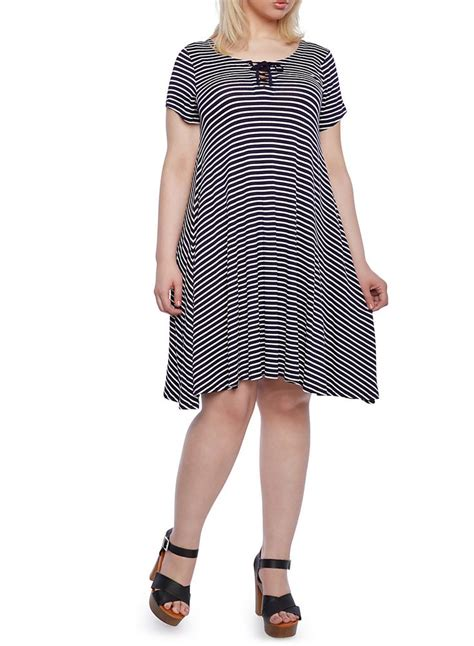 Plus Size Striped Tent Dress With Lace Up Neckline