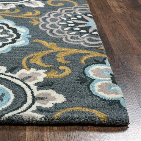tufted wool rug rizzy home valintino grey blue floral medallion