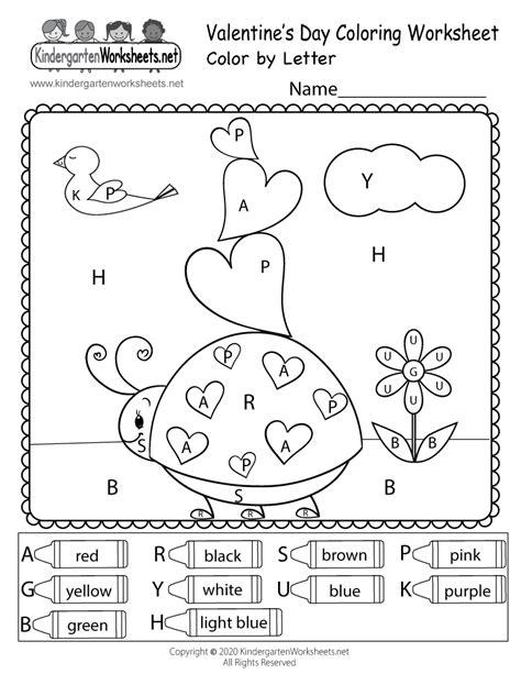 Valentine's Day Color by Letter Worksheet for Kindergarten