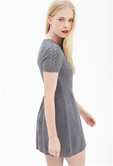gray sweater dress forever 21 cable knit sweater dress in gray lyst
