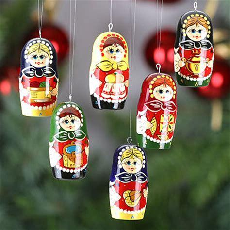 russian girls christmas ornaments set figures