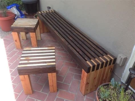 Modern Slat Bench And Side Tables Diy  Outdoor Furniture