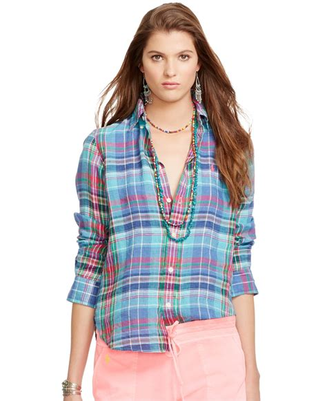 polo ralph plaid linen shirt in blue lyst