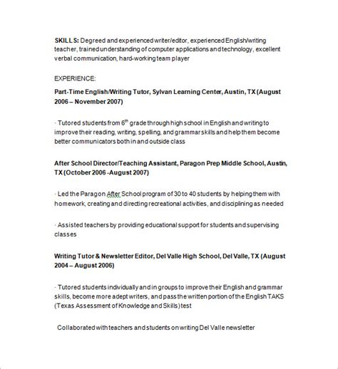 Writing Tutor Resume Skills by Tutor Resume Template 13 Free Sles Exles Format