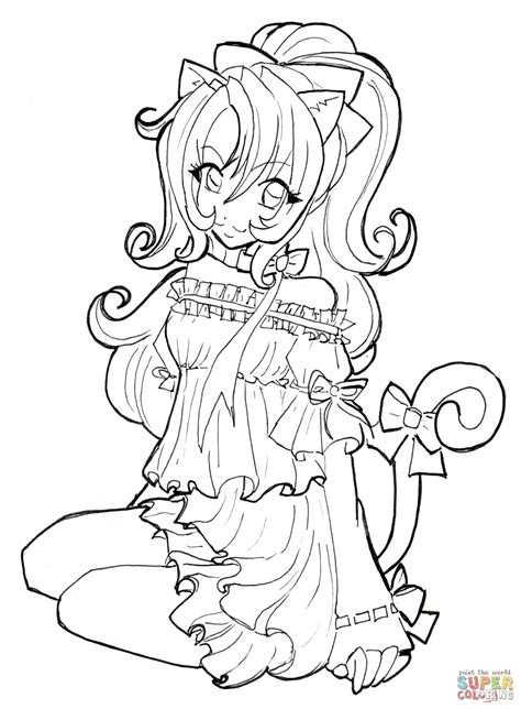 Cat Girl coloring page from Anime Girls category Select