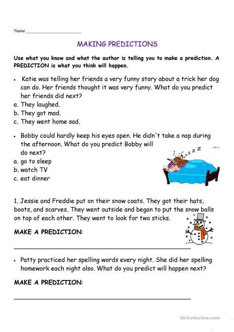Making Predictions Worksheet  Free Esl Printable Worksheets Made By Teachers