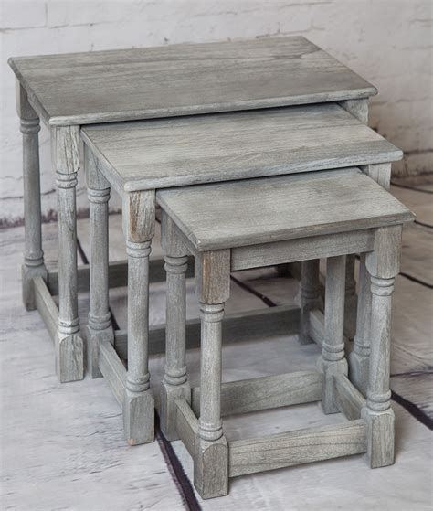 shabby chic nesting tables shabby chic set of three grey wash nesting wooden stacking tables ebay