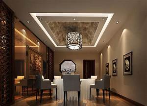 Modern dining room with wrapped ceiling design image for Modern ceiling designs for dining room