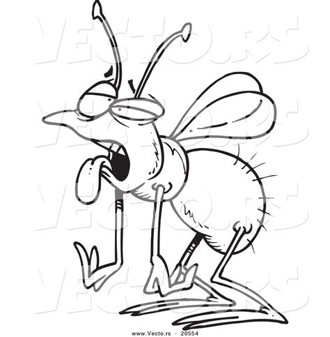 Of A Cartoon Tired House Fly Coloring Page Outline By