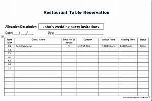 Restaurant Reservation Sheet