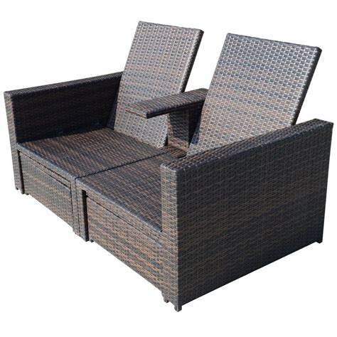 outsunny 3pc pe rattan wicker patio loveseat lounger