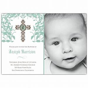 Cross Trellis Boy Photo Baptism Invitations PaperStyle