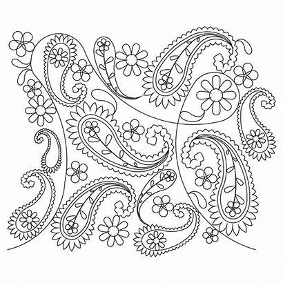 Paisley Flower Coloring Pattern Adult Colouring Stencil