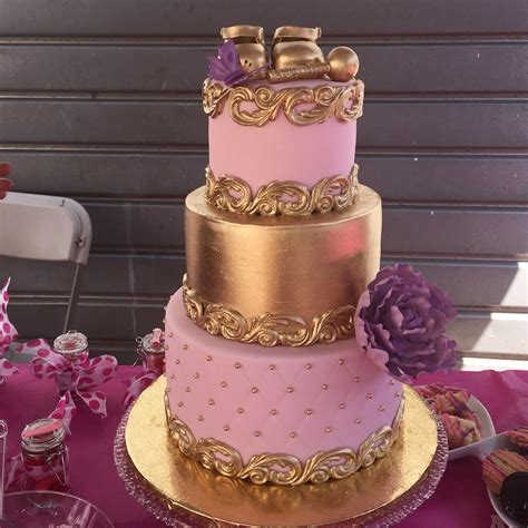 gold  pink baby shower tier cake
